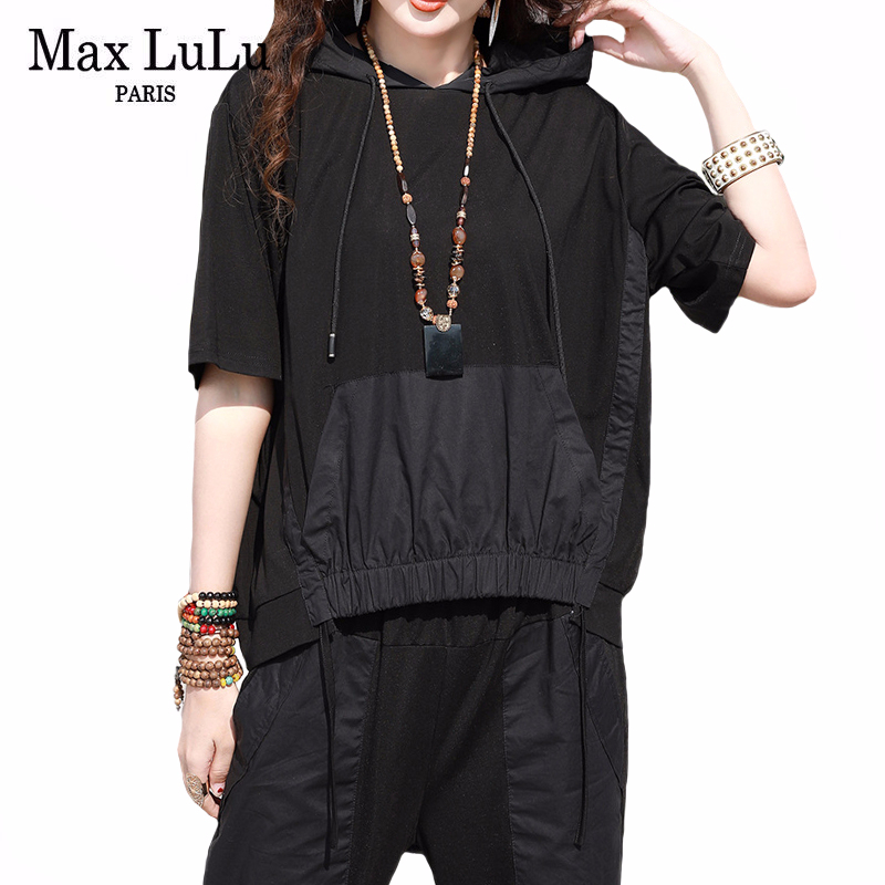 Max LuLu 2020 Summer Korean Fashion Ladies Punk Style Two Pieces Sets Womens Casual Hooded Suits Loose Tops And Pants Plus Size