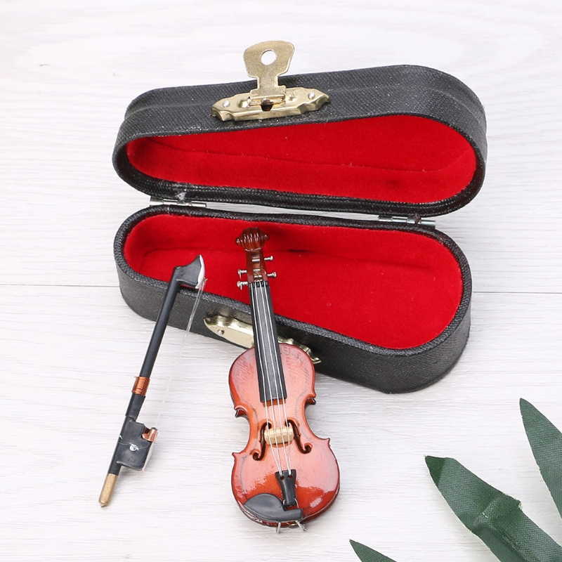 7CM Mini Violin Miniature Musical Instrument Wooden Model with Support and Case