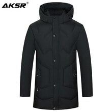 AKSR, chaqueta de invierno para hombre, abrigo de gran tamaño, Parkas gruesas y cálidas, abrigo de invierno con capucha, rompevientos para hombre, abrigo Masculino Inverno