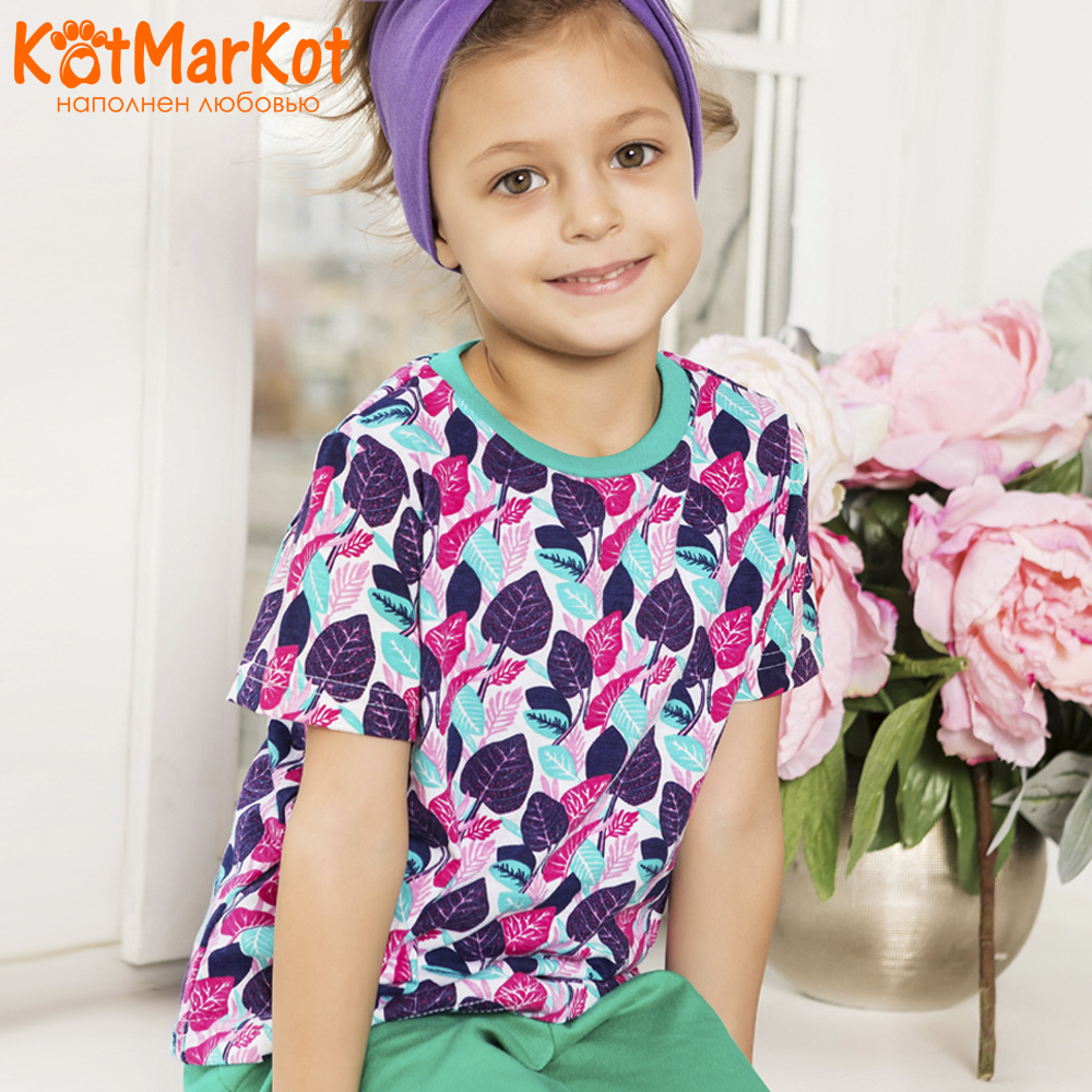 Pajama Sets Kotmarkot 16499 children's pajamas for boys and girls sleep t-shirt and shorts pajama pants Cotton Girls shein kiddie toddler girls letter print jumpsuit and floral print pants and headband long sleeve casual suit for girl sets