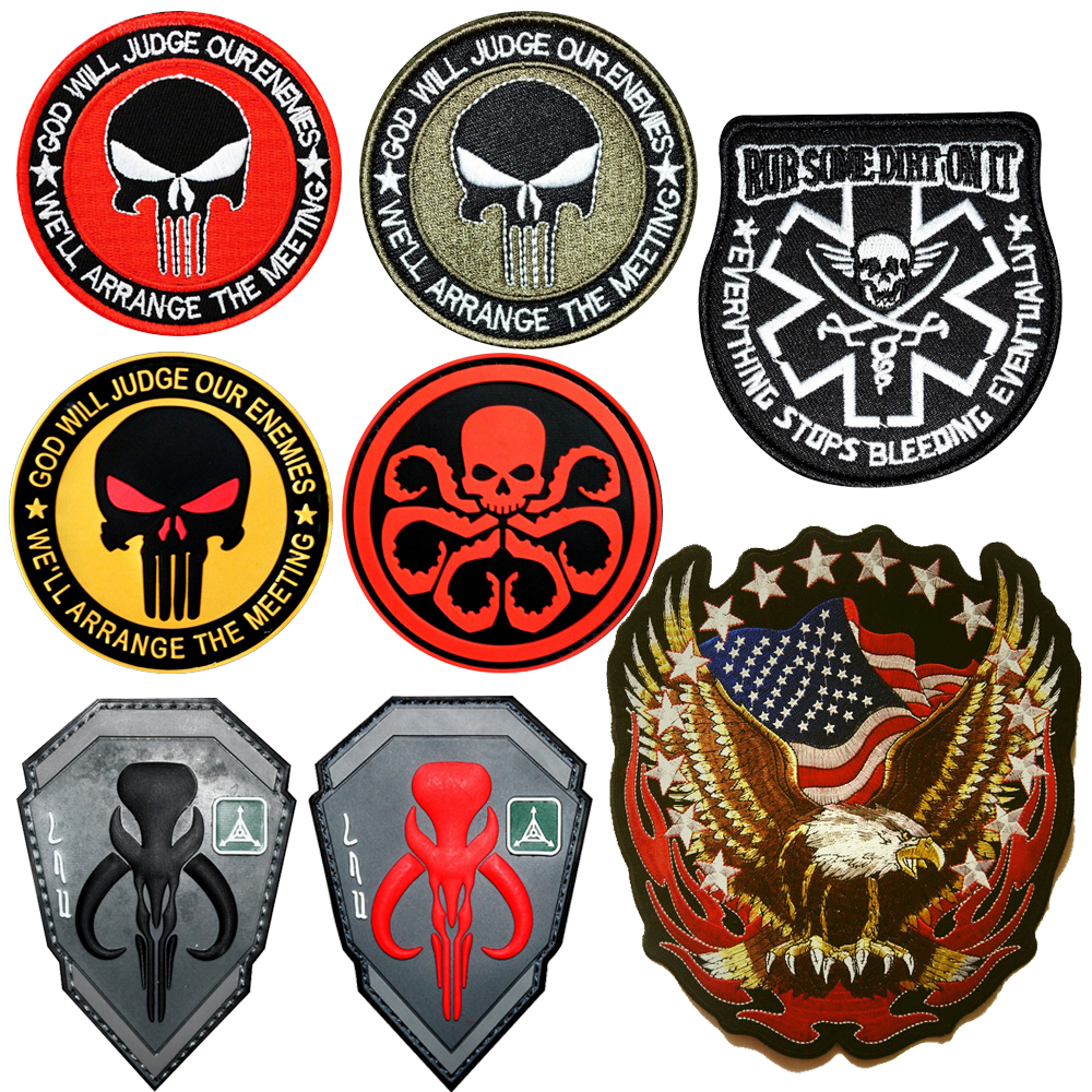 Diy Hunting Accessories Badges Military Sticker Hook Armband Patches Badges Stickers Punisher Flag Embroidered Armband Appliques