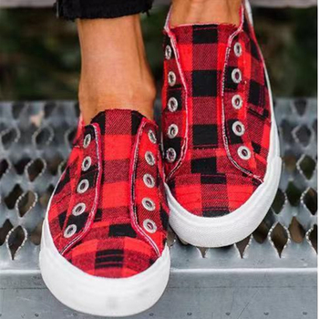 Fashion Women Sneakers Casual Vulcanize Shoes Plaid Feminino Comfy Canvas Shoes Ladies Trainers Breathable Zapatos Mujer