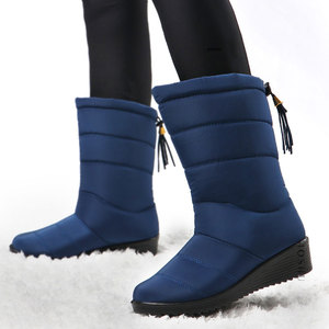 Image 2 - Women Winter Boots Mid Calf Waterproof Snow Boots Fur Wedges Shoes Ladies Warm Down Boots  Platform Botas Mujer Invierno 2020