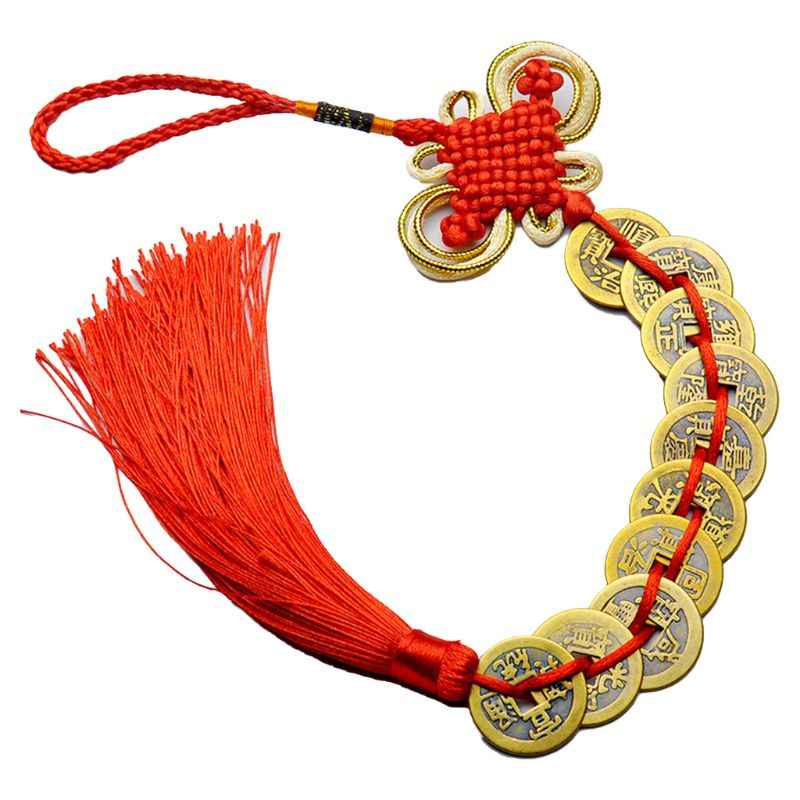 Chinese Knot Feng Shui Lucky Wealth 3/6/8/9/10 Coins For Home Car Hanging Tassel E65B