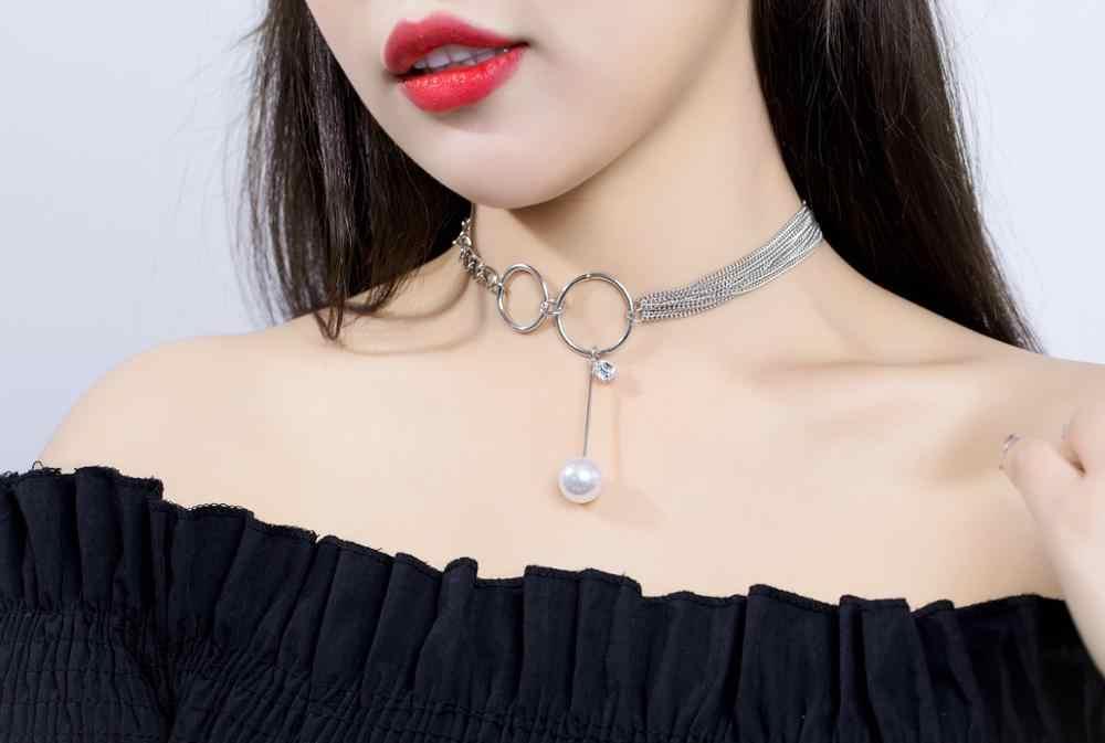 Nieuwe Parel ketting korte sleutelbeen keten goud pailletten choker kraag pearl black crystal voor meisje verjaardagscadeau sieraden