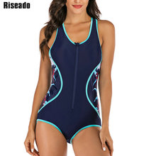Riseado Sport One Piece Swimsuit Women Floral Printing Competition Swimwear Racerback Rash Guards New Bathing Suits