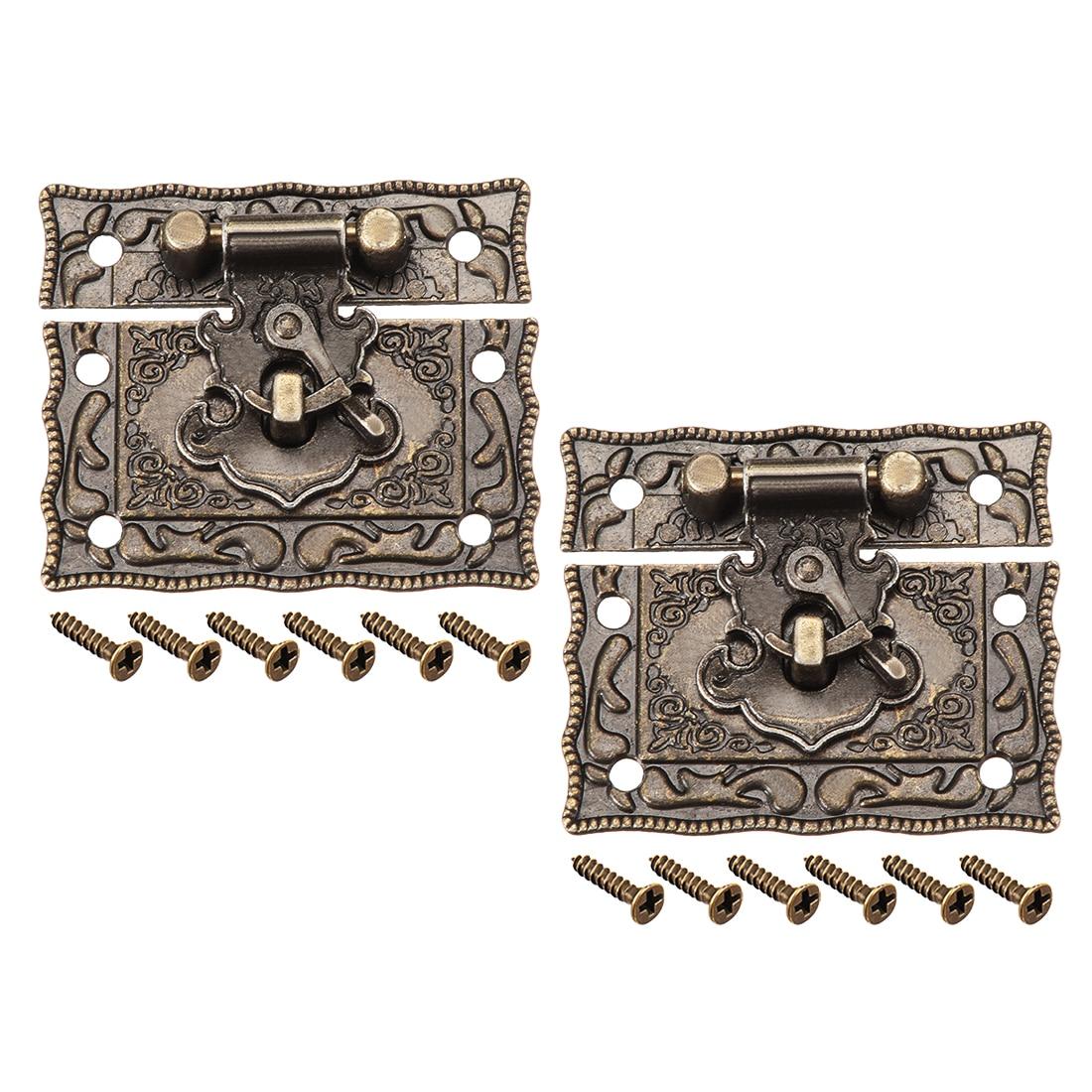 Ev Dekorasyonu'ten Kilit Sürgüleri ve Cıvataları'de Uxcell 2 takım ahşap durumda göğüs kutusu dikdörtgen toka kapatma çile mandal bronz ton 51x42mm title=