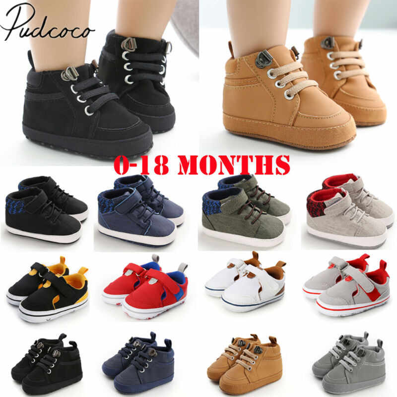 2019 Baby First Walkers 0-18M Baby Shoes Boy Girl Newborn Soft Soles Leather Crib Soft Sole Shoes PVC Sneaker