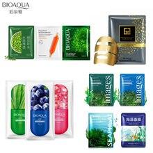 10Pcs BIOAQUA 24K gold face mask seawees bean Blood orange aloe blueberry facail Moisturizing Oil-control skin care
