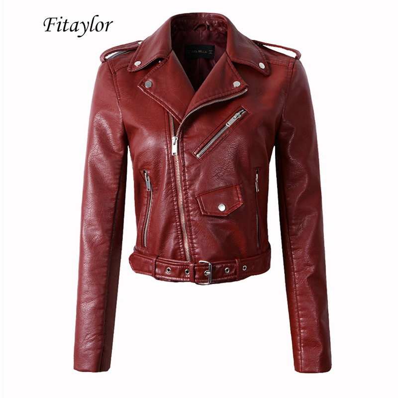 Fitaylor Women Wine Red Faux Leather Jackets Lady Pu Leather Jacket Bomber Motorcycle Biker Pink Black Outerwear With Belt|Leather Jackets| - AliExpress