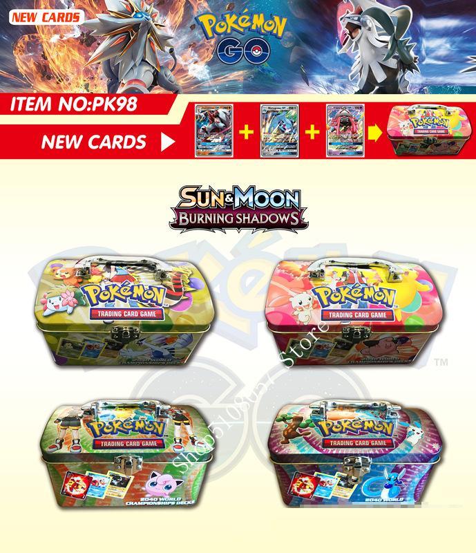 98 шт./компл. переносной Чехол Коробка Покемон TAKARA TOMY боевые игрушки хобби Коллекционные вещи игра Коллекция аниме-открытки для детей