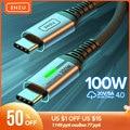 INIU 100W кабель-Переходник USB C на кабель с разъемом USB Type-C PD 5A быстрой зарядки USB-C шнур зарядный кабель с разъемом типа C для Huawei Xiaomi Samsung S20 Macbook iPad ...