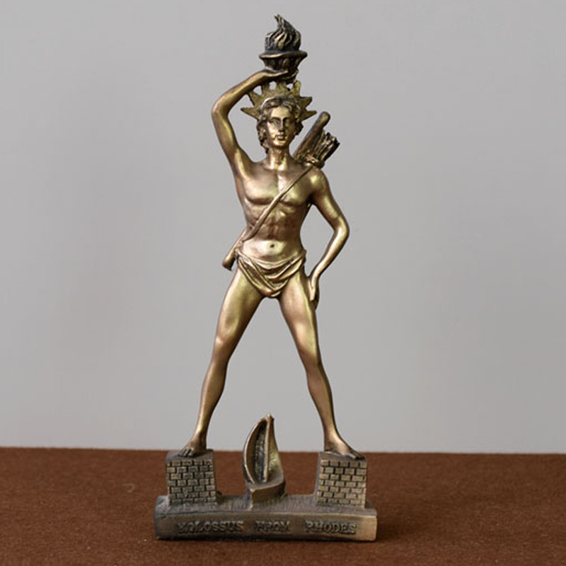 Greek Tourist Souvenirs Rhode Island Sun God Statue Set A European Figure Sculpture Tabletop Small Furnishings. image