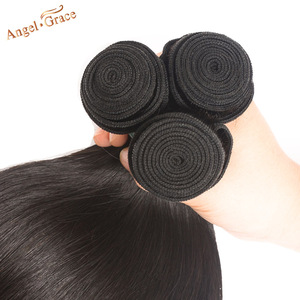 Image 3 - Angel Grace Hair Peruvian Straight Hair Bundles 100g/pc 1/3/4 Bundles Can Buy 100% Human Hair Weave Bundles Remy Hair Extensions
