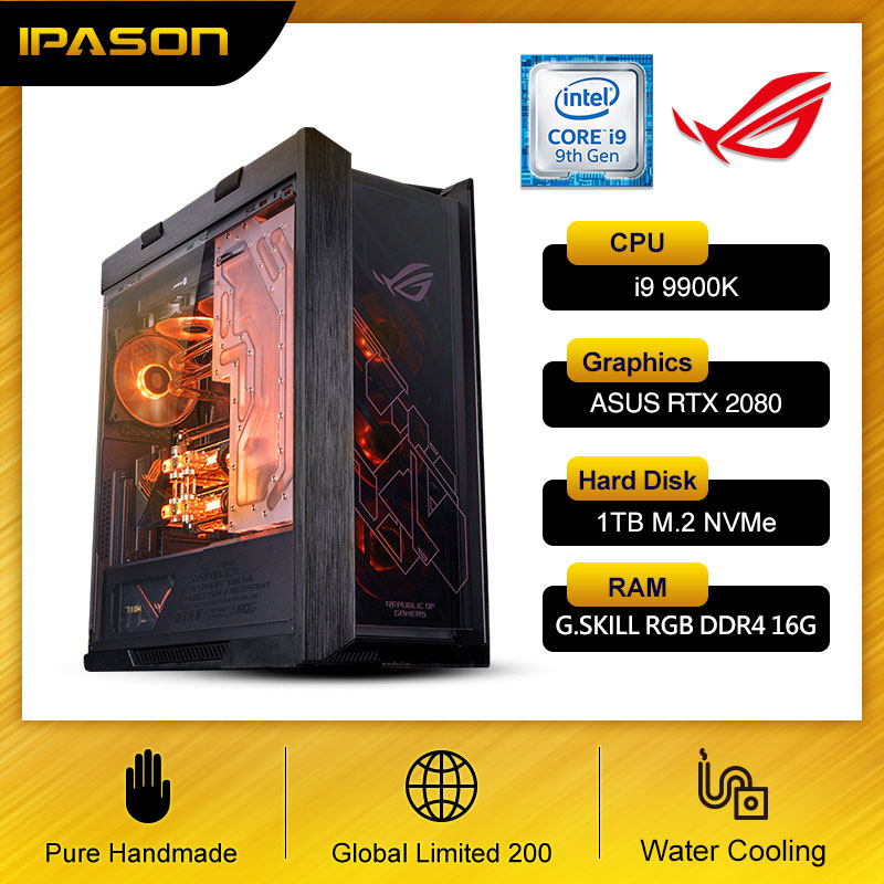 IPASON I9 9900K / 1T M.2 NVME/32G DDR4 RAM/RTX2080TI ASUS ROG Water-Cooled Computer VR Assembly Machine With High-End Desktop PC