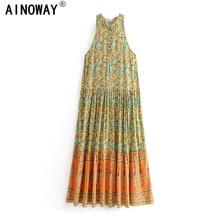 Vintage chic women  floral print sleeveless  beach Bohemian Spaghetti Strap maxi dress Ladies Summer Boho dress vestidos