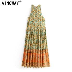 Image 1 - Vintage chic women  floral print sleeveless  beach Bohemian Spaghetti Strap maxi dress Ladies Summer Boho dress vestidos