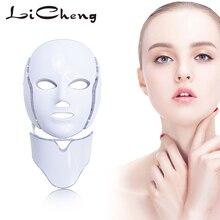 Licheng 7 цветов светодиодный маска для лица Антивозрастная красота машина омоложение кожи спа фототерапия микротоковое удаление морщин и акне