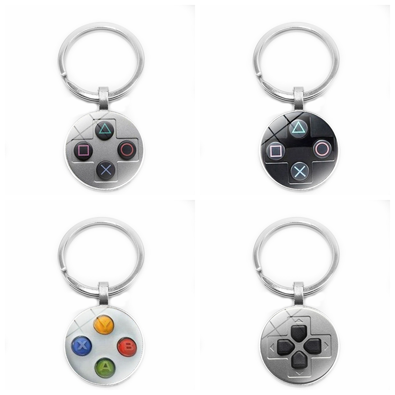 2019 New Gamepad Button Pattern Glass Cabochon Keychain Fashion Car Keychain Pendant Jewelry Gift