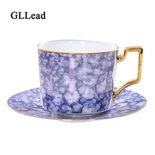 GLLead Bone China Tea Cup Set Ceramic Coffee Cups and Saucers European Style Fashion Teacup Porcelain Home Office Drinkware