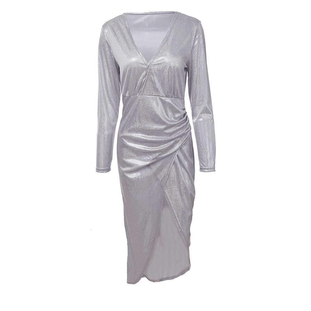 Puimentiua 2019 moda cuello en V delgado Vestido de lentejuelas mujeres Sexy plata brillante Vestido de fiesta otoño señora manga larga Vestido Delgado