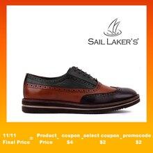 حذاء رجالي من الجلد الطبيعي ذو نعل عال من الحذاء اليومي للبروغ أحذية رسمية للرجال أحذية رجالي فاخرة أنيقة للزفاف مصمم اجتماعيًا