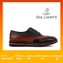 Sail Lakers Genuine Leather High Sole Men Daily Brogue Shoes Men Formal Shoes Office Social Designer Wedding Luxury Elegant Male Dress Shoes