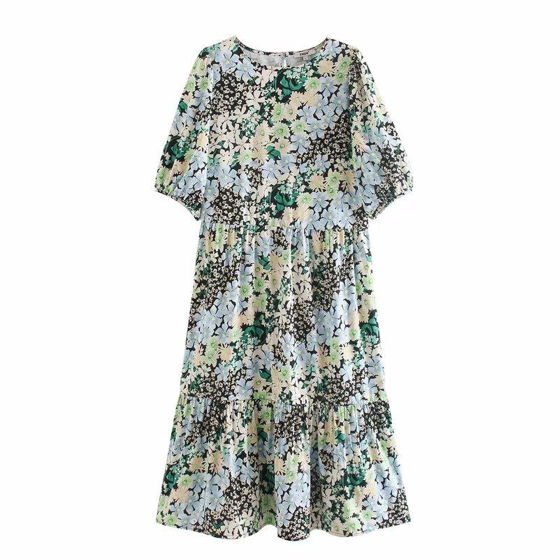 women elegant o neck puff sleeve flower print casual loose straight dress office lady pleats vestido chic leisure dresses DS3416