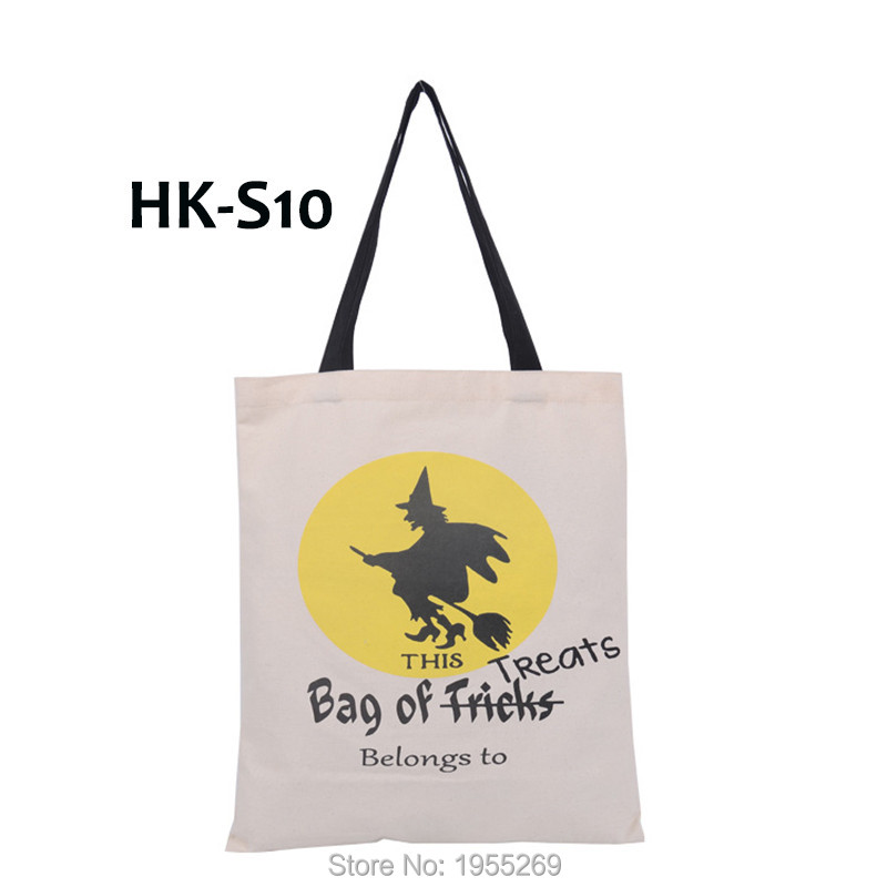 Image 5 - 21pcs/lot 5 Types Halloween Gift Bag Sacks Canvas Cotton Tote Bags with Handles Children Candy Large Bag Party Pumpkin New Year-in Stockings & Gift Holders from Home & Garden