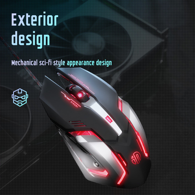 Gaming Mouse USB Wired Gaming Mouse Glowing Professional Mouse Gamer 4000DPI Optical Game Mice 6 Button Mause for PC Computer