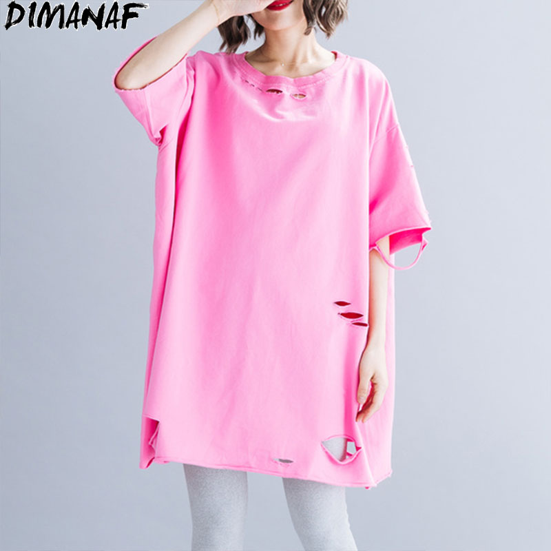 DIMANAF Plus Size Women T-Shirts Summer Casual Cotton Lady Tops Tees Tunic Basic Hole Shirts Loose Oversize Solid Clothing 2020