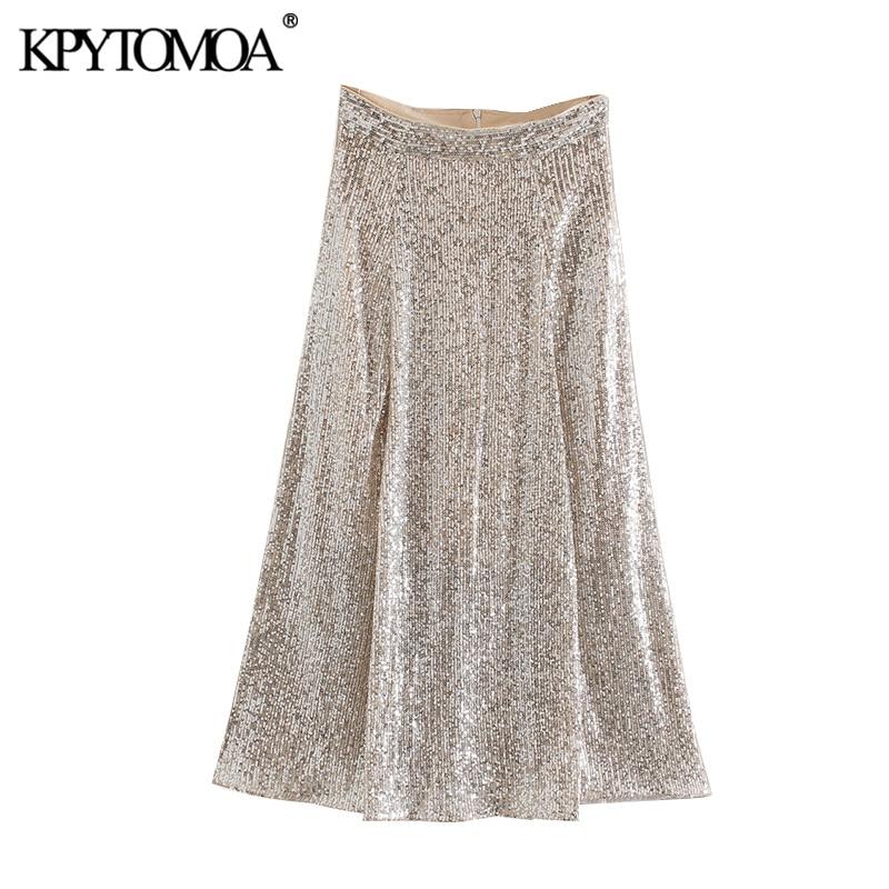 KPYTOMOA Women 2020 Sexy Fashion Shiny Sequined Midi Skirt Vintage High Waist Back Zipper Party Club Female Skirts Faldas Mujer