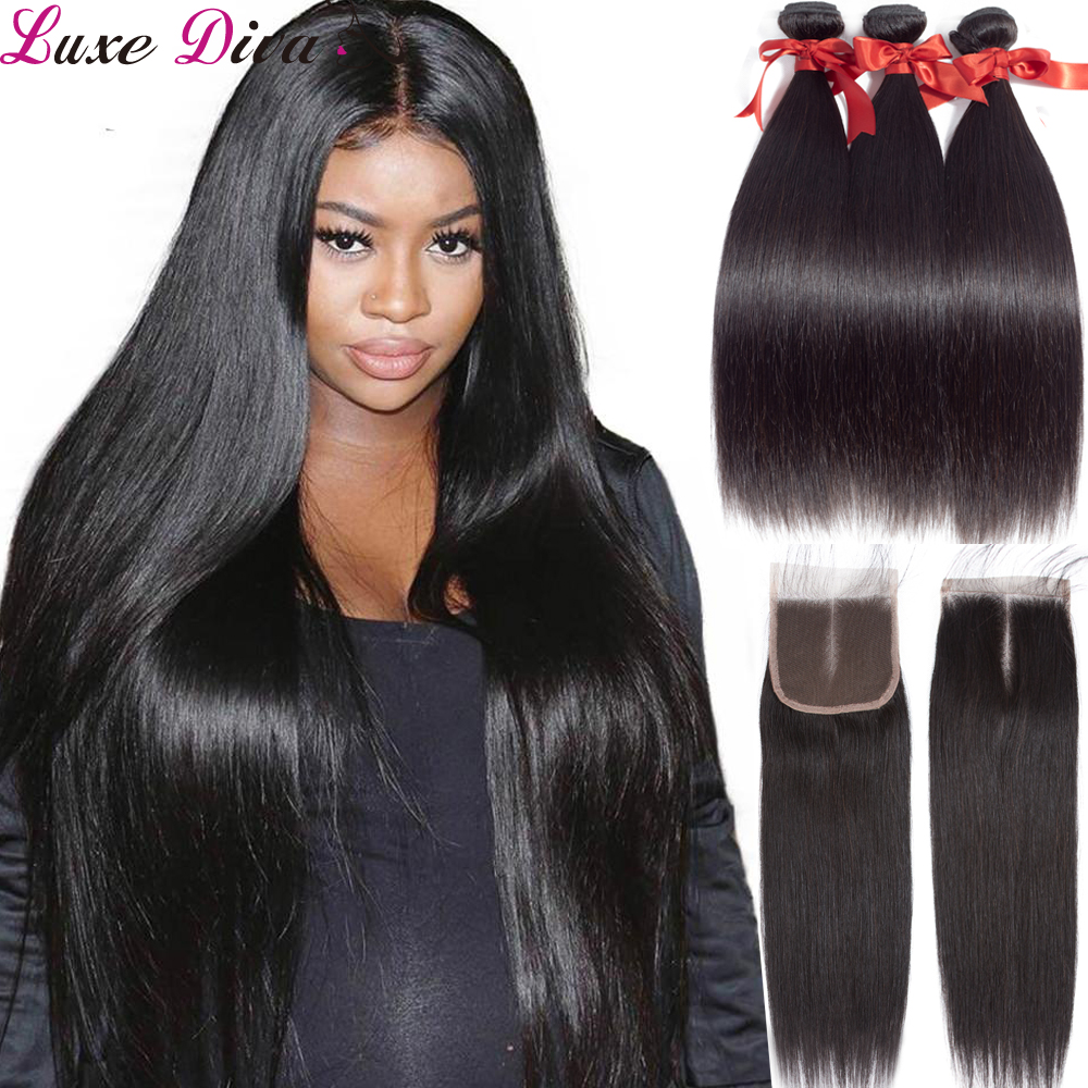 Luxediva Hair Bundles With Closure Peruvian Straight Hair Weave Bundles With Closure Human Hair Bundle With Closure Pre-plucked