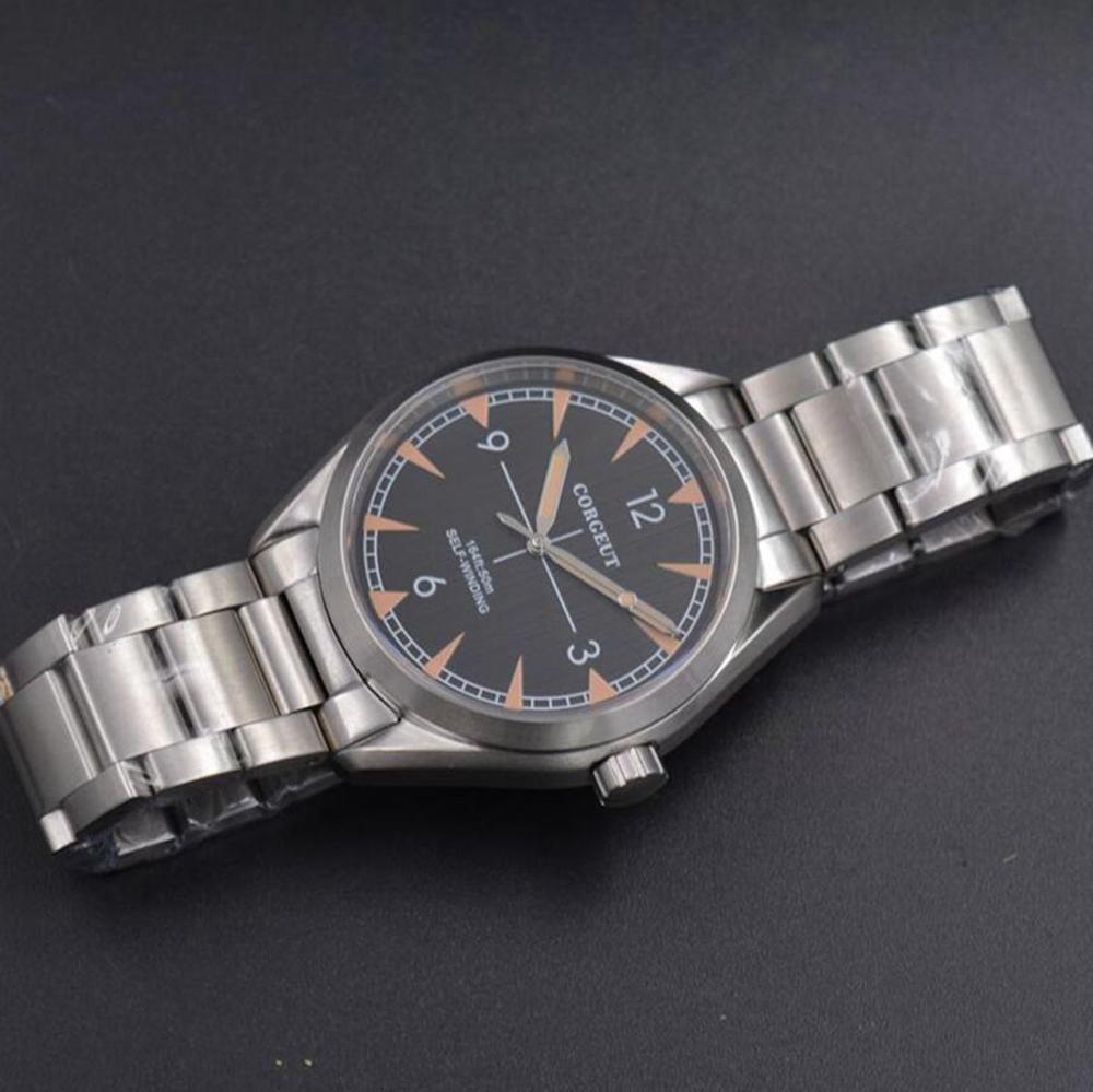 Corgeut 41mm montre hommes de luxe automatique montre à remontage automatique militaire en acier inoxydable lumineux étanche mécanique mâle montre bracelet - 3