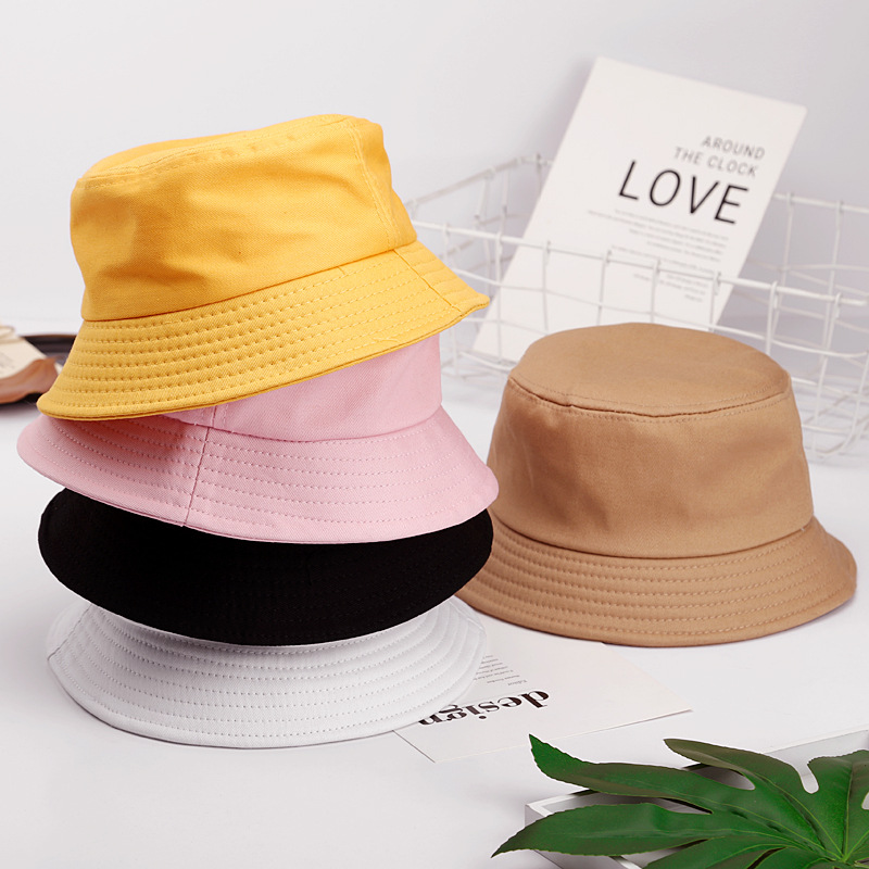 Simple Cheap Fashion Adult Kids Summer Foldable Bucket Hat Hat Beach UV Protection Round Top Sunscreen Fisherman Cap