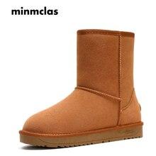 Minmclas Womens Fashion Snow Boots Winter Warm 15cm Plush for Female Cow Suede Shoes Mid-calf Australian Luxury