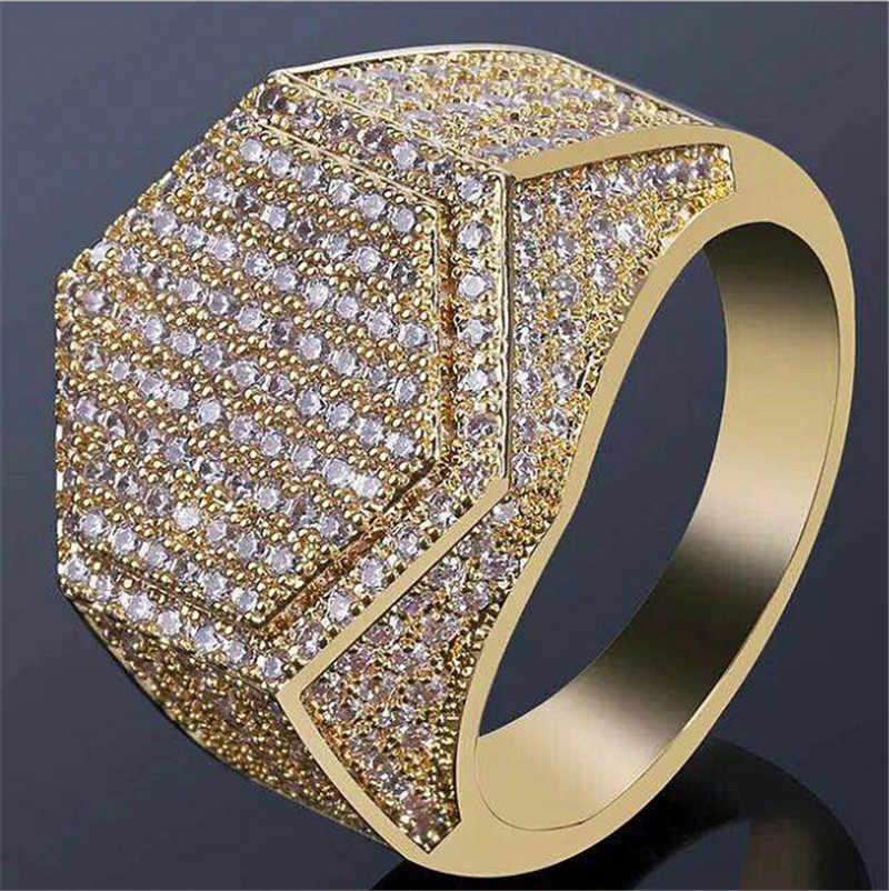 Vagzeb 2019 ใหม่แฟชั่น Hip Hop GOLD สี Cubic Zircon แหวนอิฐสำหรับชาย
