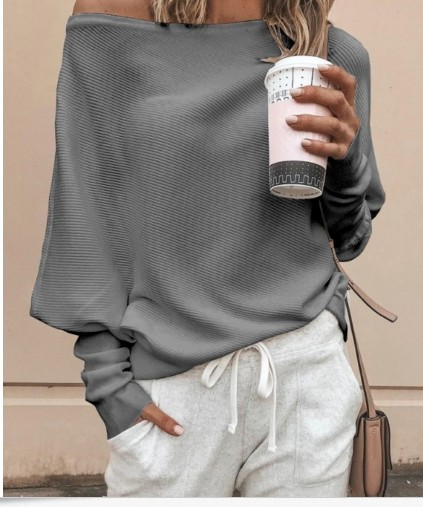 Off Shoulder Long Batwing Sleeves Women T-shirts Ribbed Knitted Pullover Loose T Shirts Tops 2019 Autumn Female Knitwear Jumper