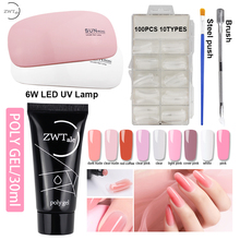 ZWTale 30ml Polygel Set with Lamp Poly Gel Nail Polish Quick Builder Varnish semi permanant uv Manicure Tips 9Colors