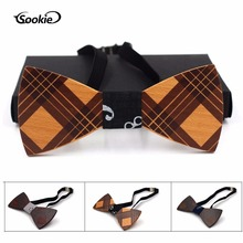 New Style Wooden Bow Tie Top Grade Solid Wood Women's Bowtie Plaid Pattern Bow Bow Tie Wedding Wooden Bow Tie Wooden Bow