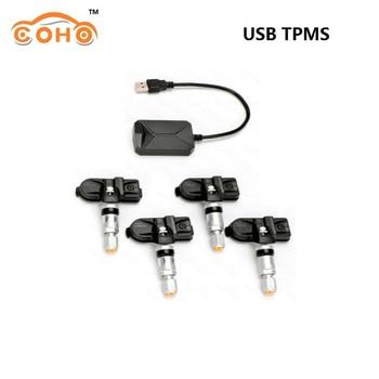 COHO USB Android TPMS Tire Pressure Monitoring System Wireless Transmission 8 bar 116 psi Alarm System 5V Internal External