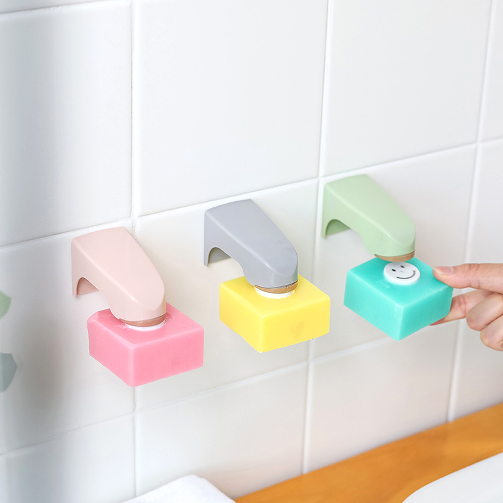 Portable Bathroom Accessories 5 Colors Magnetic Soap Holder Wall Mounted Sticking Soap Dishes Storage Rack
