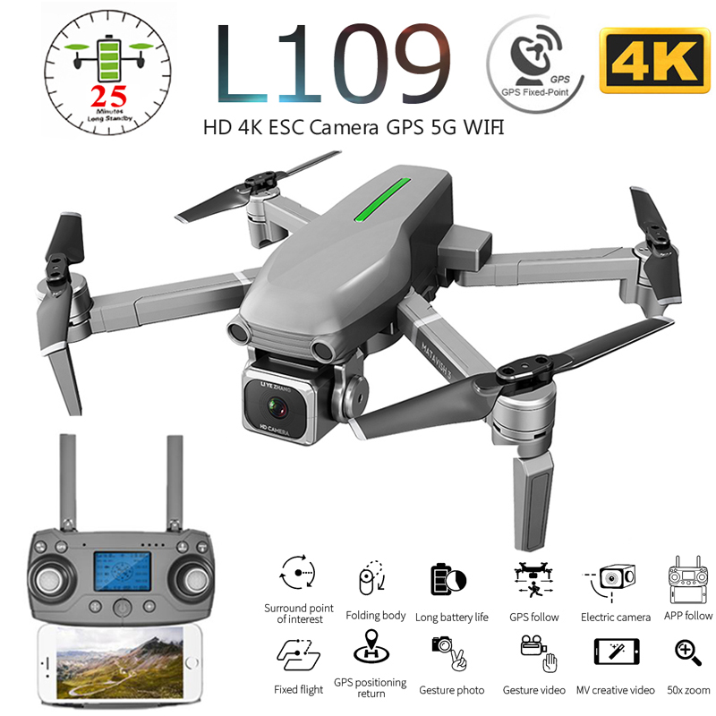 L109 L109-Pro GPS Profissional Drone with HD 4K ESC Camera 5G WiFi FPV Optical Flow Brushless Motor RC Quadcopter Helicopter Toy image