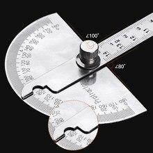 180 graus transferidor calibre de ângulo aço inoxidável ajustável multifunções semicircular régua ferramenta medição matemática