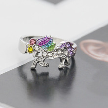 Elegant Unicorn Ring Silver Multicolor Colorful Alloy Jewelry Unique Animal Anillo For Party Personility Ring Drop Shipping