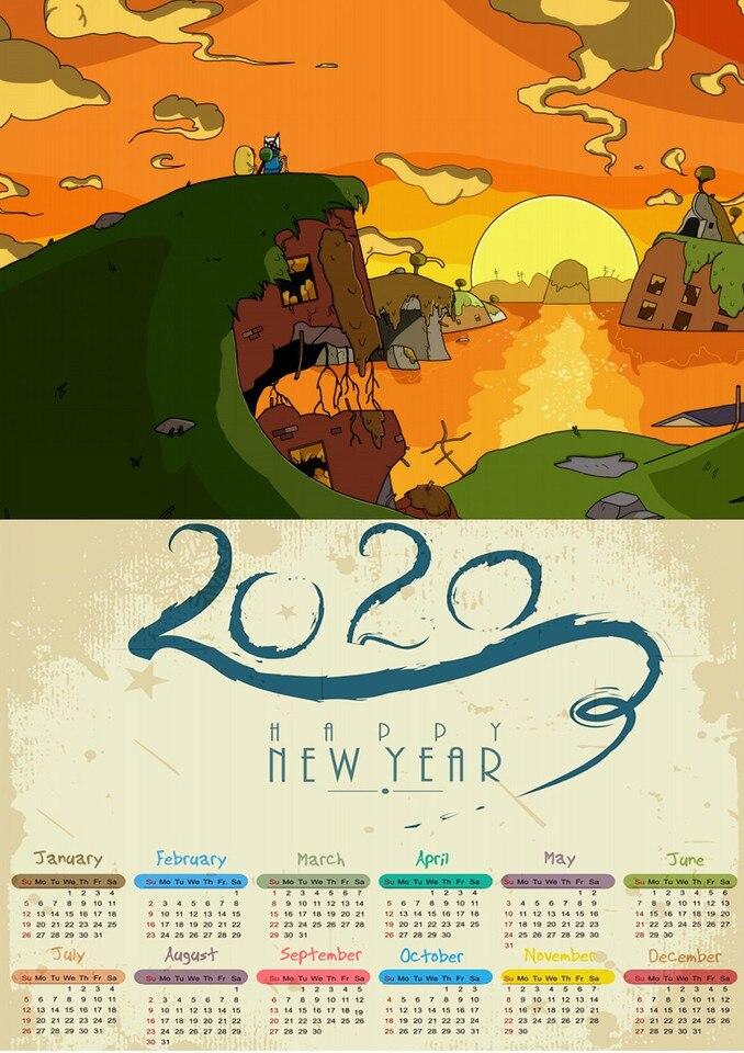 Adventure Time Illustration Desk Calendar 2020 Year Cute Design Free Shipping