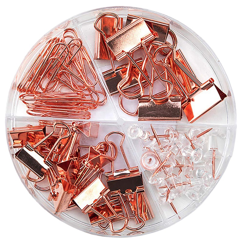 Fashion Binder Clips Paper Clips Push Pins Sets With Box For Office School And Home Supplies Rose Gold Office Tools Set