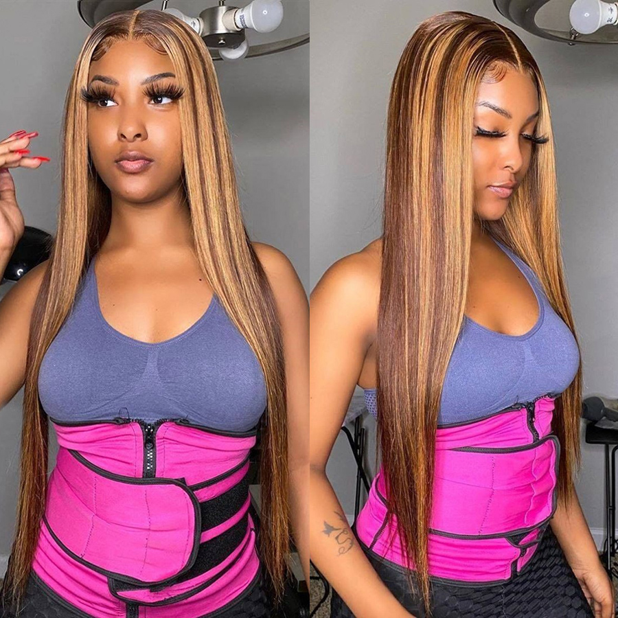 Bone Straight  Wig  Honey Blonde Lace Front Wigs   180 Density T Part Lace Highlight Wig 2