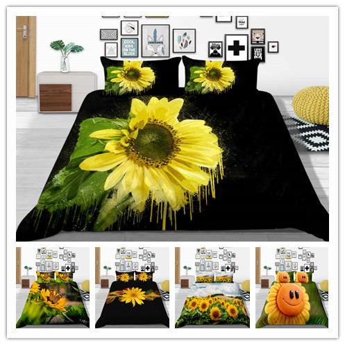 New Style 3D Fashion Beautiful Sunflower Printed Bedding Sets 2/3Pcs/Set Duvet Cover Set Black Background Bed Sheet 2019 Bed