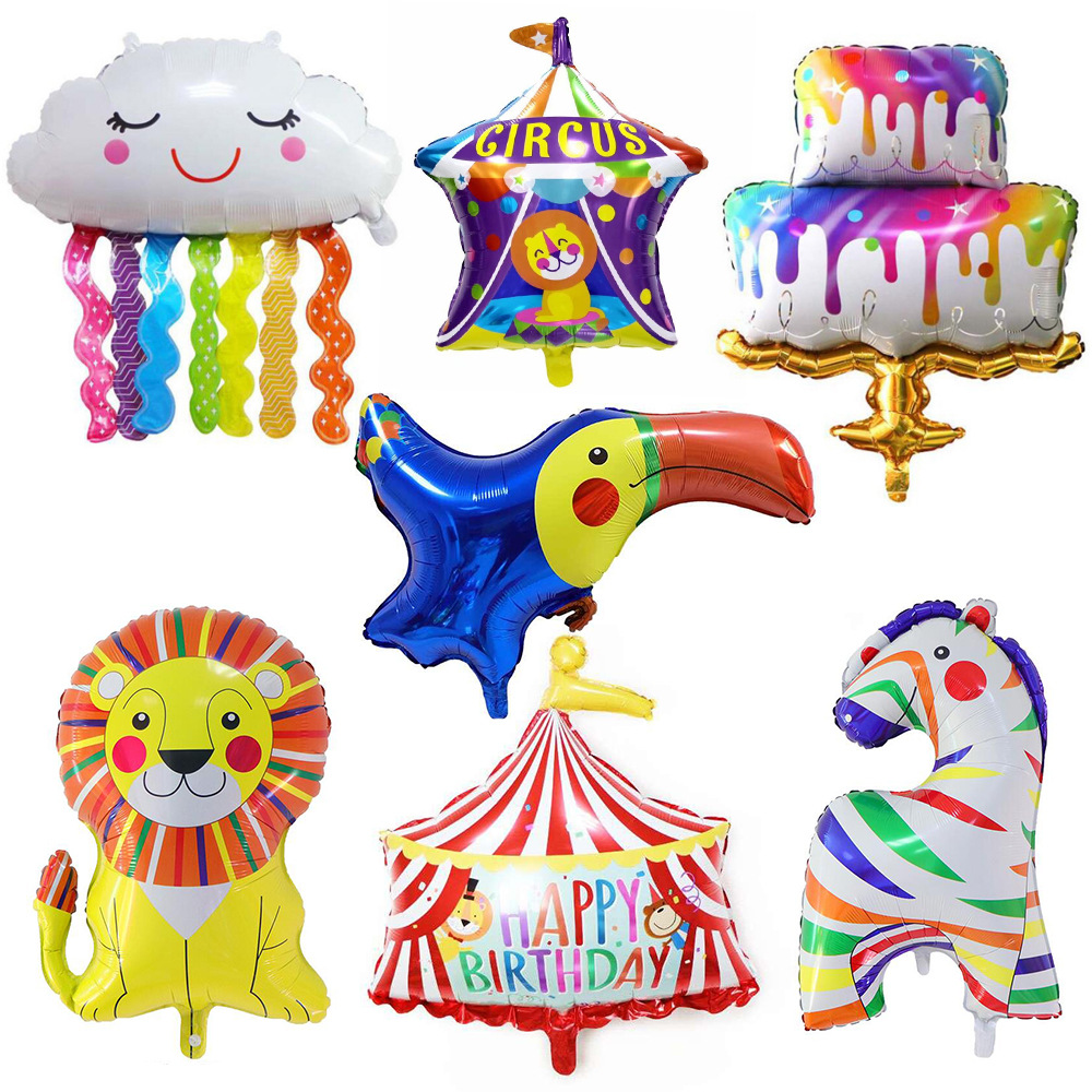 1 шт., цветной воздушный шар из алюминиевой пленки в виде единорога, торта, радуги, кисточки, облака, воздушные шары из алюминиевой фольги, цир...
